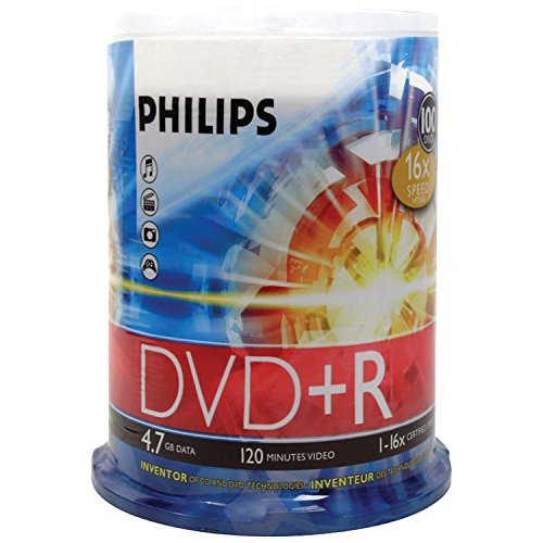 DVD+R 4.7GB DATA 120MIN VID 16X 100-SPINDLE by Philips