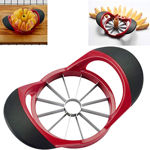 HengKe 12-Blade Apple Slicer Corer Cutter,Ultra Sharp Stainless Steel Blades and Ergonomic Plastic Handle,3 in 1 Apple Slicer Potato Slicer Cutter for French Fries and Mango Slicer Corer (Red)