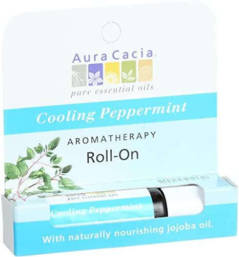 Aura Cacia Aromatherapy Roll On, Cooling Peppermint, 0.31 Fluid Ounce
