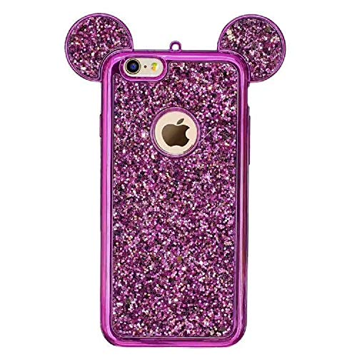 Luxury Glitter Case for Samsung Galaxy S10E,Aoucase Bling Diamond Cute Cartoon 3D Mouse Ears Design Soft TPU Electroplate Bumper Drop Protection Case with Black Dual-use Stylus,Purple