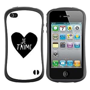 "Hypernova Slim Fit Dual Barniz Protector Caso Case Funda Para Apple iPhone 4 / iPhone 4S [El amor del Corazón Negro Blanco Usted Je t'aime""]"