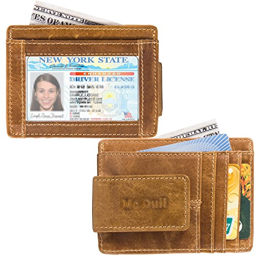 Wallets with Money Clip Mens Minimalist Genuine Leather Magnet Front Pocket Wallet RFID Blocking (Light Brown) by Mcdull (Image #1)