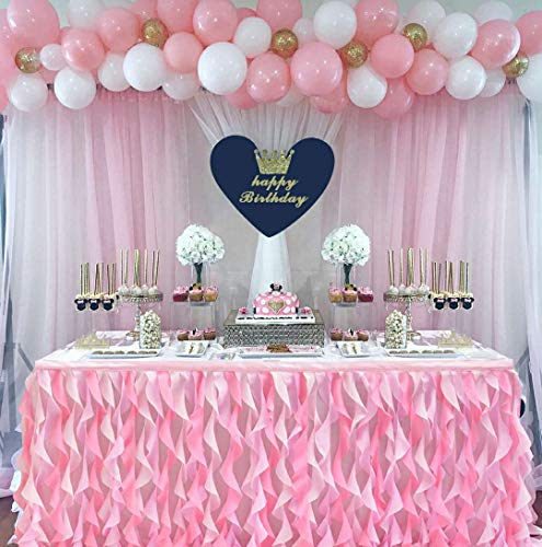 6ft Curly Willow Pink Table Skirt Lace Taffeta Table Skirting Tutu Tulle Table Skirt for Round or Rectangle Table for Birthday, Wedding, Party Decoration Supplies(L72in×H30in) -