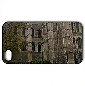 Rochester Cathedral - Case Cover for iPhone 4 and 4s (Religious Series, Watercolor style, Black)