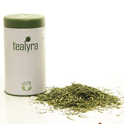 Tealyra - Premium Kukicha Twig Kabuse - Japanese Green tea - Organically Grown - Loose Leaf Tea - Mild Slightly Nutty Flavour - High Level of Antioxidants - Caffeine Level Low - 100g in TIN (Bancha Leaf Tea)