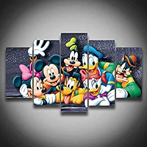 5 piece canvas art Oil Canvas Painting Cuadros Donald Mickey Dog Cartoon Mouse Duck Wall decorations for home Art Print no frame