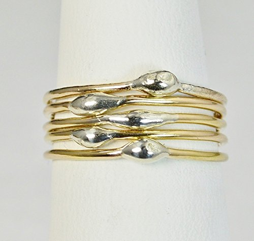 Unique Gold and Silver Dew Drop Stacking Rings(sold individually)