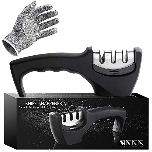 Kitchen Knife Sharpener - 3 Stage Knife Sharpening Tool Helps Repair, Restore and Polish Blades - Food Safety Cut Resistant Glove Included