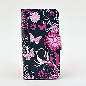 ZCLFlower Butterfly Pattern Full Body Leather Tpu Case for iPhone 4/4S