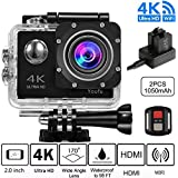 4K WIFI Sports Action Camera, Ultra HD Waterproof Cam DV Camcorder with 16MP Remote Control 30M 170 Degree Wide Angle 2.0 Inch LCD 100 Feet Underwater with Accessories Kits and Rechargeable Battery