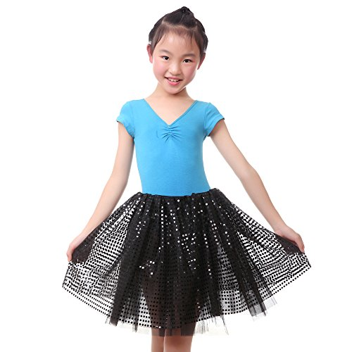 Anleolife Girl Black Tutu Skirts Sequins Ballet Dance Tutus Halloween Christmas Gift (black ) (Black And Purple Tutu Skirt)