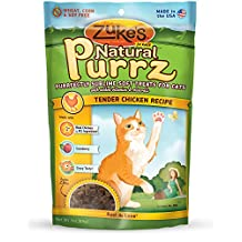 Zuke's Pet Nutrition Natural Purrz Purrfectly Sublime Soft Treats for Cats, Tender Chicken Recipe, 3-Ounce