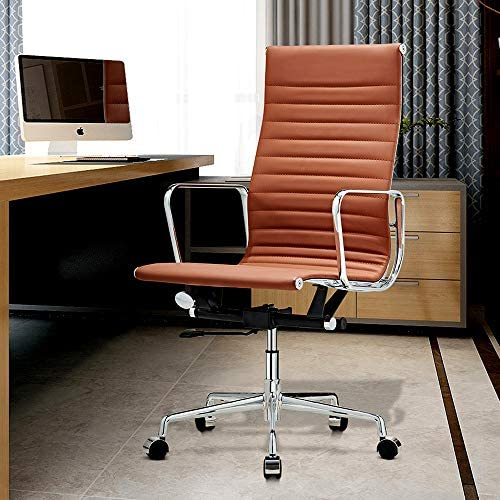 Upgraded Ribbed Leather Office Chair