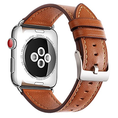 Mkeke Compatible Apple Watch Band 42mm Genuine Leather iWatch Bands Brown by Mkeke
