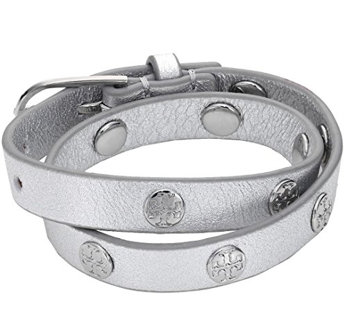 Tory Burch Leather Double Wrap Stud Bracelet - Tory Silver Burch