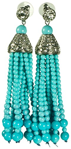 KENNETH JAY LANE, TASSEL & PAVE CRYSTAL12 STRAND EARRING, CHOOSE: RED, GREEN, BLACK, PEARL, AND TURQUOISE (Turquoise/Clip) Kenneth Jay Lane Red Earrings
