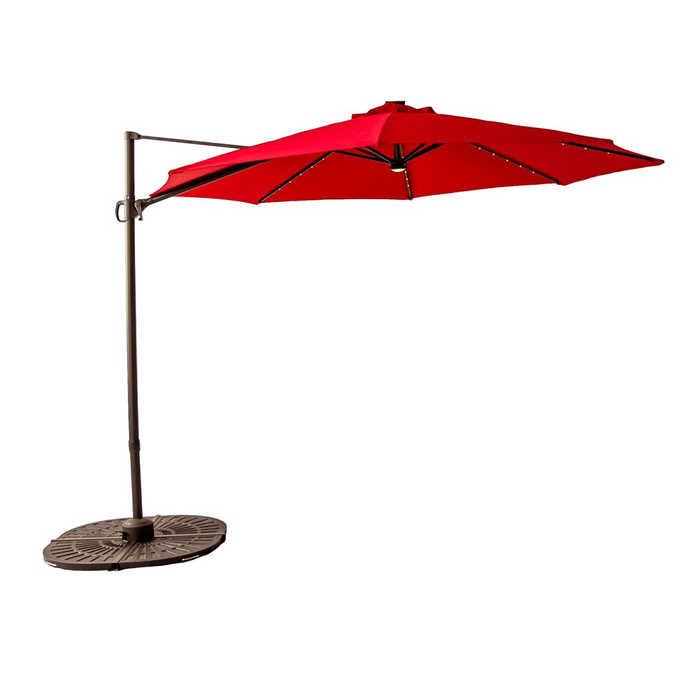 FLAME&SHADE 10 feet LED Cantilever Offset Umbrella, Hanging Patio Umbrella, Solar Lights, Cross Base, Infinite Tilting, 360° Axis Rotation, Red
