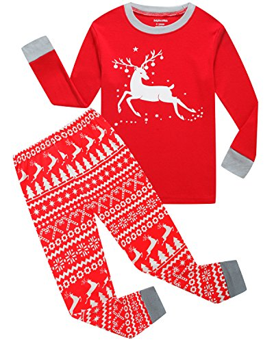 Little Pajamas Boys Girls Christmas Pajamas Reindeer Cotton Toddler Clothes Kids PJS Children Sleepwear Size 4T (Christmas Pajamas For Children)
