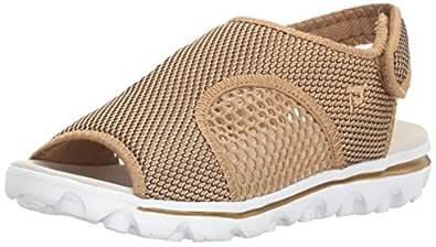 Propet Women's TravelActiv Ss Sandal, Gold/Black, 5 M US