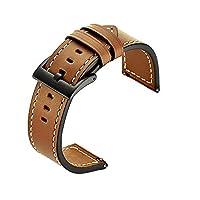 Bandas de reloj Galaxy compatibles (46 mm) compatibles, bandas Gear S3, correa de cuero genuino de reemplazo de correa de hebilla de 22 mm para Samsung Gear S3 Frontier Smartwatch (marrón)