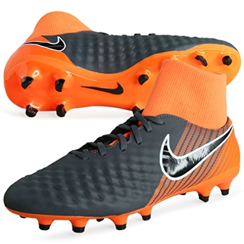 Nike Men's Magista Obra 2 Academy DF FG Soccer Cleat (SZ. 8.5) Dark Grey, Total Orange