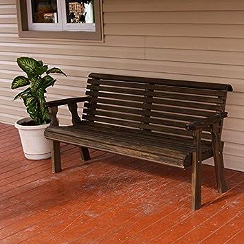 Amish Heavy Duty 800 Lb Roll Back Pressure Treated Garden Bench (4 Foot,  Dark