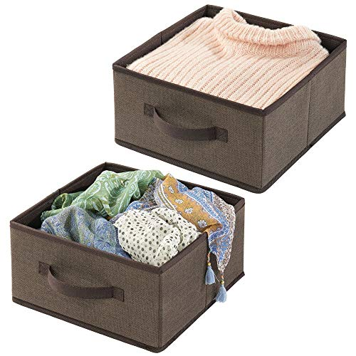 Basket T-shirt - mDesign Soft Fabric Modular Closet Organizer Box with Handle for Cube Storage Units in Closet, Bedroom to Hold Clothing, T Shirts, Leggings, Accessories - Textured Print, 2 Pack - Espresso/Brown