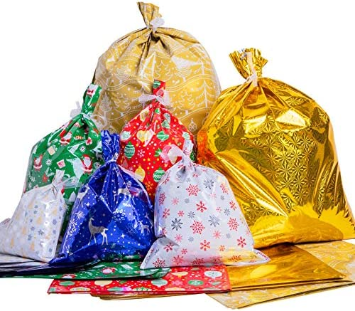 TOMNK Christmas Bags 64 Pieces Wrapping Bags in 7 Assorted Styles with Ribbon Ties for Xmas, Holiday Goody