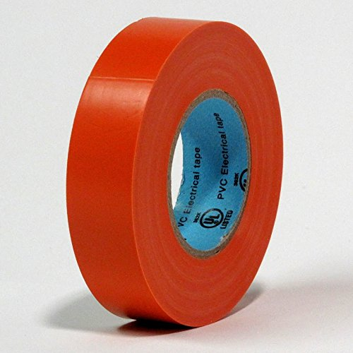 10 Rolls Professional Industrial General Purpose Electrical Tape with Moisture Tight Protection - 3/4 Inch X 66 Feet - Orange Color - 10 Rolls per Case
