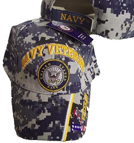 United States Navy Veteran V Blue CAMO Baseball Style Embroidered HAT us USA Cap