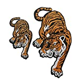 Buorsa 2Pcs Tiger Animal Sew On Iron On Patches Embroidered Applique Badge for Clothes,2 Size