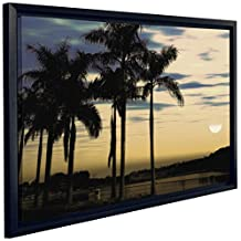 J.P. London FCNV2213 Framed Gallery Wrap Heavyweight Tropical Sunset Beach Palm Trees in The Clouds Canvas Wall Art, 20.375-Inch High by 26.375-Inch Wide by 1.25-Inch Thick