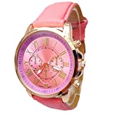 Winhurn Stylish Numerals Faux Leather Analog Quartz Women Wrist Watch (Pink)