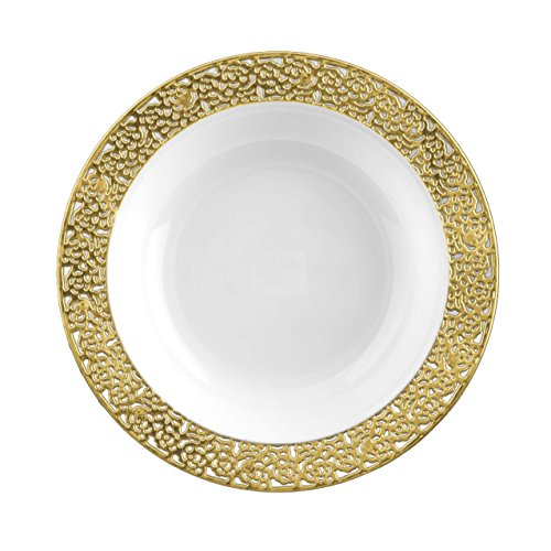 (Posh Setting Lace Collection 40 Pack China Look 7.5 Inch White/Gold Plastic Soup Bowls, Fancy Disposable Dinnerware)
