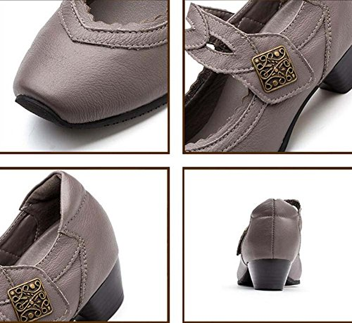 Mujeres bomba 3.5 cm Chunkly Heel Square Toe Mary Jane zapatos casuales Comforty Pure Color Velcro Court zapatos madre zapatos Eu tamaño 35-40 Brown