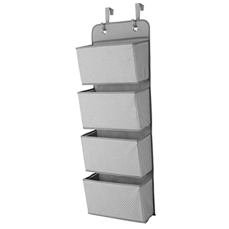 4 Pockets Over Door Hanging Organiser Shelves Closet Storage Organizer Wall Mount Fabric