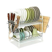 Baoyouni 2-Tier Stainless Steel Dish Drying Rack Plastic Drip Tray, Utensil Hooks, & Hanging Basket