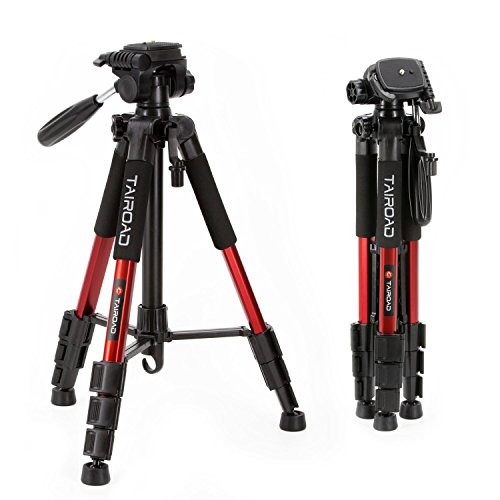 Tairoad T1-111 Travel Camera Tripod Lightweight with Carry Case - 3 Way Fluid Panhead - Quick adjustment Flip Locks - Compatible with Compact and Mirrorless Nikon Canon Sony Cameras - Red