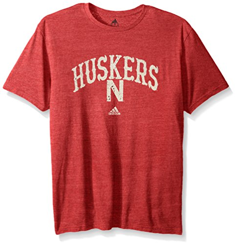 adidas NCAA Nebraska Cornhuskers Adult Men Pastime Arch Vault Tri-Blend S/Tee, Large, Power Red Heathered (Basketball Nebraska Cornhuskers Mens)