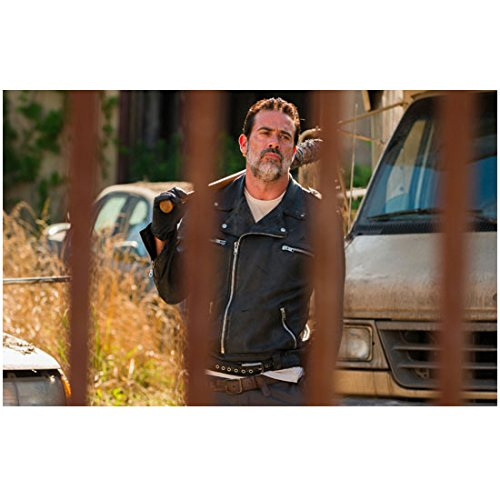 The Walking Dead (TV Series 2010 - ) 8 inch x10 inch Jeffrey Dean Morgan Bat Over Right Shoulder Black Leather Jacket Walking Toward Fence Close-Up - Morgan Leather Series
