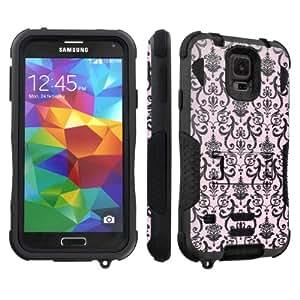 SkinGuardz Samsung Galaxy S5 Armor Shock Absorbent Tough Case with Kickstand - (Black Pink Vintage)