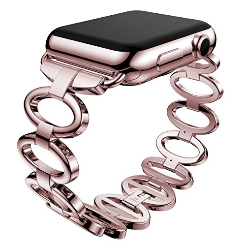 ANCOOL Apple Watch Band Elliptical Style Stainless Steel Smart Watch Band for Apple Watch Series 1 Series 2 - 38mm Rose Gold