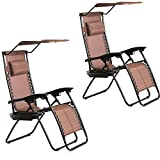 BestMassage 2 PCS Zero Gravity Chair Lounge Patio Chairs with canopy Cup Holder