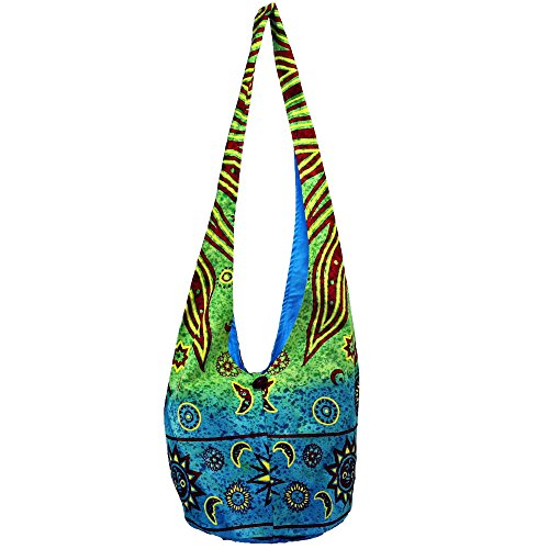 (Sun Moon and Stars Celestial Fire Crossbody Barrel Bag)