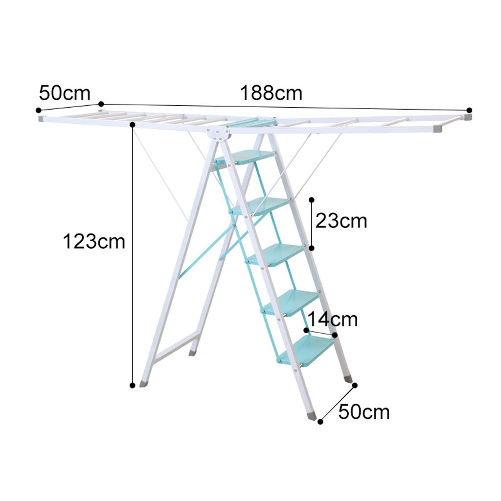 Wing-type Folding Drying Rack, Four-step Ladder Drying Rack, Multi-purpose Indoor Drying Rack, Steel Pipe-L180cm W 50cm H105cm, Load-bearing 150kg ( Size : Five steps )