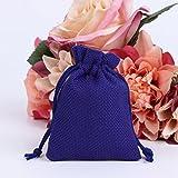 cici store 50Pcs Vintage Natural Jute Drawstring Pouch - Burlap Bags - Wedding Favor Gift Bag (Royal Blue)