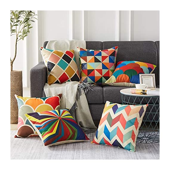Top Finel Decorative Outdoor Throw Pillow Covers Set - Square Cotton Linen Cushion Covers 18 X 18 Inch for Sofa Couch, Set of 6, Series - SUPER PLUSH MATERIAL & SIZE: Made of high quality cotton linen, comfortable to touch and lay on. 18 X 18 Inch per pack, included 6 packs per set, NO PILLOW INSERTS. WORKMANSHIP: Delicate hidden zipper closure was designed to meet an elegant look. Tight zigzag over-lock stitches to avoid fraying and ripping. NO PECULIAR SMELL: Because of using environmental and high quality cotton linen fabric,our throw pillow cases are the perfect choice for those suffering from asthma, allergen, and other respiratory issues. - patio, outdoor-throw-pillows, outdoor-decor - 51oYIk65PaL. SS570  -