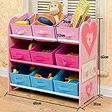 Children's Multi-Box Toy Organizer Finishing Rack Sorting Rack (Color : Peach Heart, Size : 65 * 60 * 30CM)