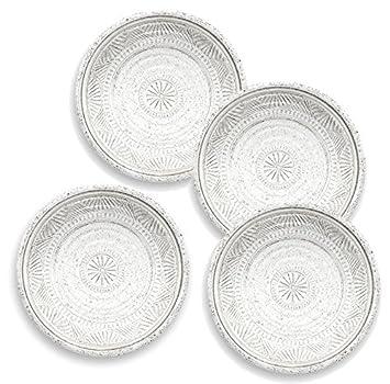 Plato de acompañamiento de piedra natural de color blanco con detalles. Plato artesanal