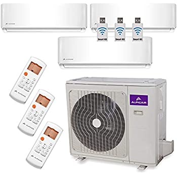 AlpicAir +Multi Tri-Zone Ductless Mini-Split System 27,000 BTU Inverter Heat Pump (9k+12k+12k)